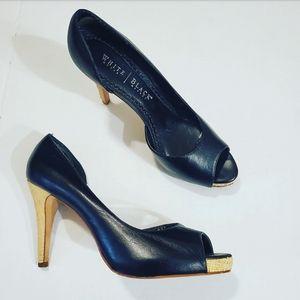 White House|Black Market Black PeepToe Straw Heels